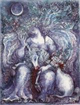 Einhorn Aus Ophir und Eden, In Merlins Gehege tritt stößig ein Wild, trägt leuchtend sein Horn ins Hochzelt der Nacht. Gejagt, - vom Jagen ermüdet, kommt es zur Ruh, und wittert die Milch, äst auf der Rosenweide über dem Höllengrund. Es heilt den Mondquell der uralten Schlange: Ein Horn läßt entspringen Morgensterngeblüt aus Krippe, Kreuzbett, Grab.  Ernst Alt
